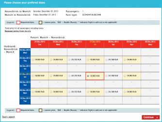 Календарь цен Turkish Airlines