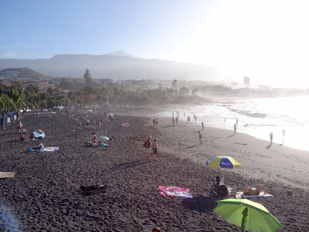 Beach in northern Tenerife Teide view