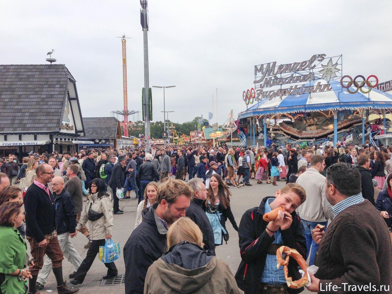Oktoberfest main street and Brezel